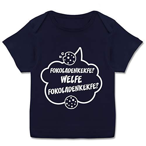 Fokoladenkekfe Spruch - 80-86 - Navy Blau - Statement - E110B - Kurzarm Baby-Shirt für Jungen und Mädchen