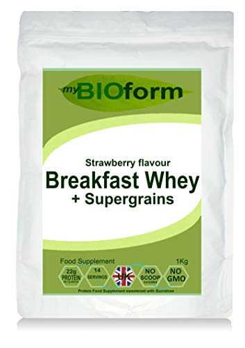 Breakfast Whey Protein Powder + Supergrains - Strawberry Flavour - 1kg Pouch - 22g Protein per Serving - myBIOform - Made in The UK