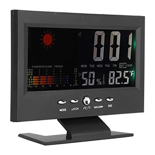Goshyda Termómetro e higrómetro Digital, medidor de Monitor de Humedad de Temperatura precisa, Reloj de Escritorio, medidor de Temperatura y Humedad del Calendario