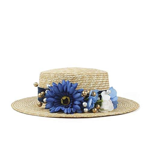 LHZUS Sombreros para mujer, 100% paja de trigo, sombrero de playa plano de verano, con flores de moda, protección solar (color: natural, tamaño: 56-58 cm)