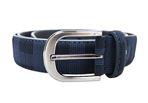 Mat Sartoriale Cintura uomo casual elegante quadri ecopelle cinta belt nuova (blu)
