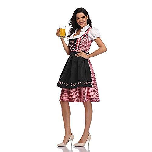 lkw-love Disfraz de Oktoberfest para Mujer Disfraz de Chica cervecera Alemana bvara Drindl Tavern Wench para Party-4_S = 34-4 4_M = 36