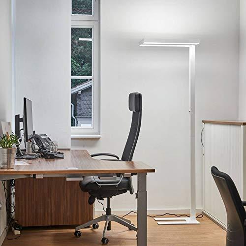 Arcchio LED Stehlampe 'Logan' dimmbar in Weiß aus Aluminium ideal für Arbeitszimmer, Büro & Home Office (A+, inkl. Leuchtmittel) - Büro-Stehleuchte, Bürolampe, Arbeitsplatzlampe, Standleuchte