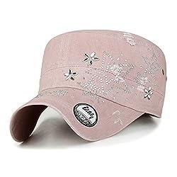 Crystal Gemstone Stud Star Pink Cotton Cadet Cap