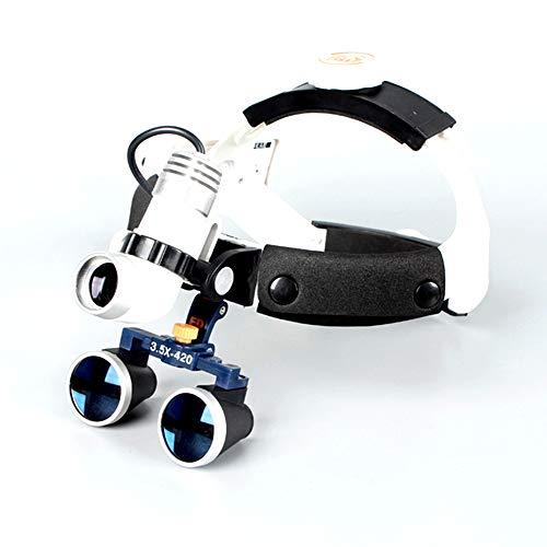 Wmagnifiy Dentist Lupenbrille Für Zahnarzt Optisches Glas 420 mm mit Aluminiumlegierung Box - Spot Und Helligkeit Einstellbar, Zum Dental Labor,3.5X