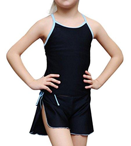 Plus Nao(プラスナオ) 子供用水着 女の子 キッズ水着 ジュニア水着 シンプル 無地 スクール セパレート タンキニ かわいい 110 120 130 140 ブルー 150