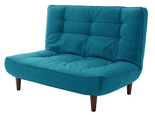 セルタン日本製ポケットコイルハイバックソファー和楽の浅葱二人掛けタスクブルー背部リクライニングA40p-585BL