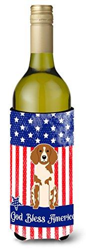 Caroline tesoros del bb3067literk patriótico EE. UU. Brittany Spaniel botella de vino aislante beverge Hugger, para botella de vino, multicolor