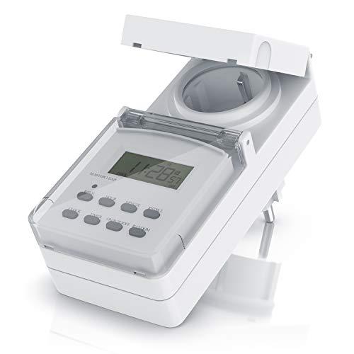 Digitale Zeitschaltuhr Outdoor - Backup-Akku - 7 Tage Zeitschaltuhr - 10 Tagesprogramme speicherbar - IPX4 für Außenbereich