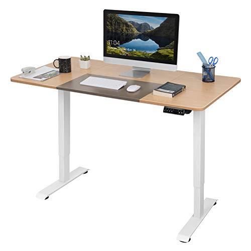Homall Höhenverstellbarer Schreibtisch 140 cm Elektrisch Stufenlos Höhenverstellbarer Computertisch mit Holz Tischplatte und Memory-Steuerung (Hellbraun)
