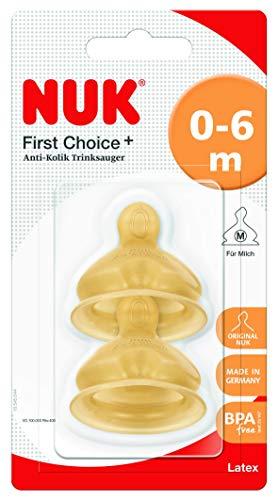 Nuk 10701233 First Choice+ Tettarella, Lattice, 0-6 Mesi, 2 Pezzi, Beige, M