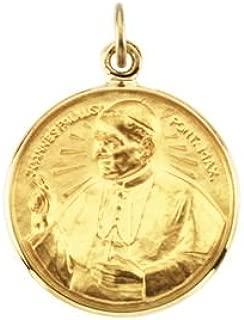 14k Yellow Gold 15 mm Round Pope John Paul II Medal