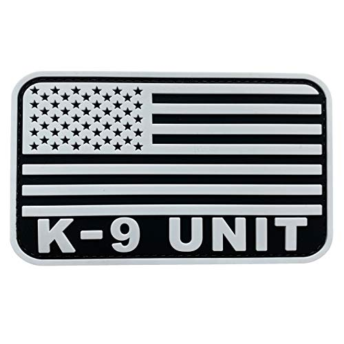 uuKen Large Black and White Police K9 Patch Tactical 5x3 inch for Tactical Vest Chest Military Bags Backpacks Plate Carrier (White, L5'x3')