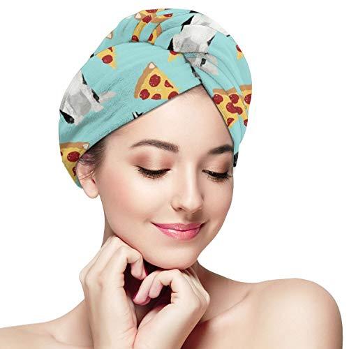 Husky Pizza Serviette mignonne en microfibre pour cheveux Turban Wrap Essuie-mains anti-frisottis super absorbants Capuchon 28 x 11 pouces / 71 x 28 cm