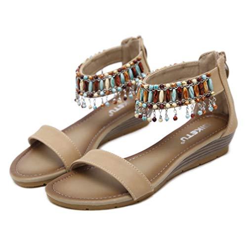 Femmes Bohême Talons Bas Sandale Compensée Cordon Perle Simple Bande Style Folk Sandale À Bout Ouvert Sandale