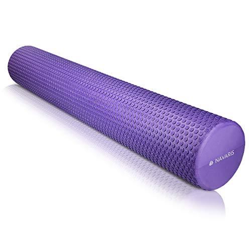 Navaris Rodillo para Pilates de 90CM - Rodillo de Espuma para Masaje Fitness y Yoga - Foam Roller para fortalecimiento Muscular en Morado