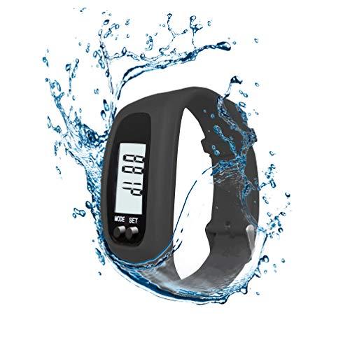AXELENS Pulsera Cuenta Pasos Podómetro Reloj para Fitness Caminar Correr Gimnasio Hombres Mujeres Niños Calculadora de calorías Distancia y Tiempo de Caminata, Impermeable - Negro