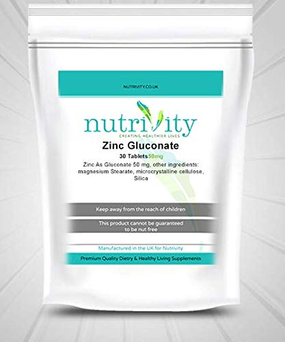 Zinc Gluconate 50mg Tablets Skin Care Acne, Cold, Immunity by Nutrivity Supplement (30)