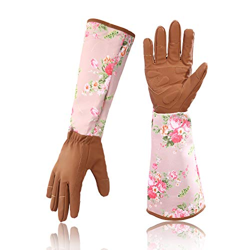 Geloo Women Professional Long Sleeve Trim Gardening Gloves, Garden Gloves (Dark brown)