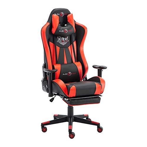 play haha. Ergonomischer Gaming-Stuhl im Rennsport-Stil, Bürostuhl mit größerer hoher Rückenlehne und Kissen, größerer Armlehne (rot, mit Fußstütze)