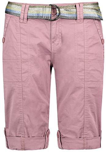 Fresh Made Damen Bermuda Shorts mit glänzendem Gürtel Dark-Rose L