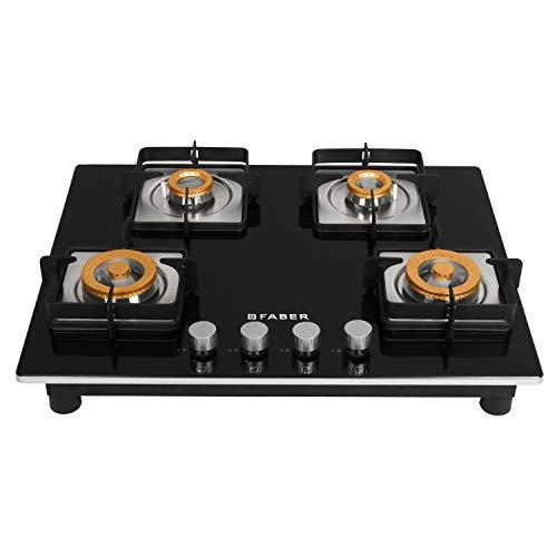 Faber HTG 654 CRS BR CI 4 Burners Hob Cooktop (Black)