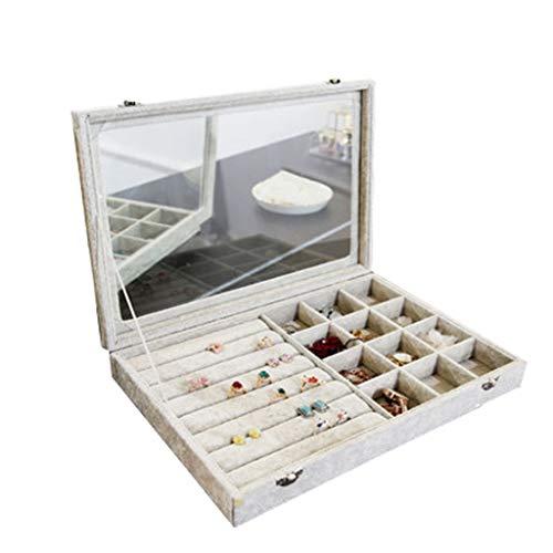Schmuckkästchen Staubdichte Schmuckschatulle-Multifunktionsuhrohrringe Aufbewahrungsbox-Handhalsketten-Schmuck-Schatztruhe (Farbe : #4, größe : 35 * 24 * 5cm)