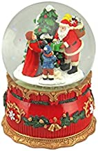 Musicbox Kingdom Santa with Children in The Woods. in The 100 Mm Globe The Snow is Automatically Kicked Up by The Musical Movement. Plays The Christmas Tune Joy to The World