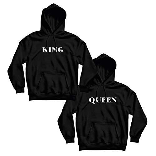 CVLR King Queen Set van 2 truien voor koppels, zwart en wit met edele tekst
