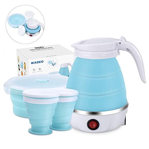 WADEO Elektrischer Tragbarer Mini-Wasserkocher, faltbar, Silikon, Schnellkochfunktion, 0,6 L Wasserkessel Reisewasserkocher mit 2 klappbaren Becher und 1 klappbaren Schüssel, für Camping Reisen Urlaub