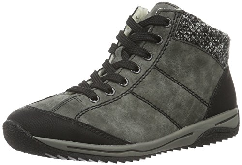 Rieker L5230, Damen Hohe Sneakers, Grau (schwarz/smoke/grey/02), 37 EU (4 Damen UK)