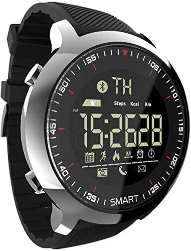 Reloj digital inteligente Bluetooth para deportes al aire libre, paso 50 m, impermeable, esfera luminosa, recordatorio de llamadas, cámara remota, reloj despertador, reloj militar plateado y negro