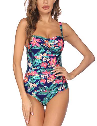 UNibelle Einteiliger Badeanzug für Damen, gerüscht, sexy, schlankmachend, Badebekleidung - - Small