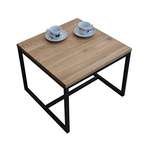 Lumarc CT-L102, Mesa de centro en madera de roble macizo natural, rectangular 50 x 50 x 40 cm