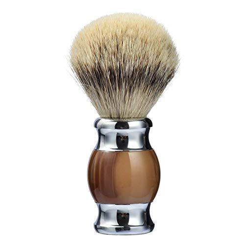 Je&Co 100% Silvertip Badger Hair Shaving Brush, Handmade Shaving Brush with Fine Resin Handle and Stainless Steel Base (Brown)