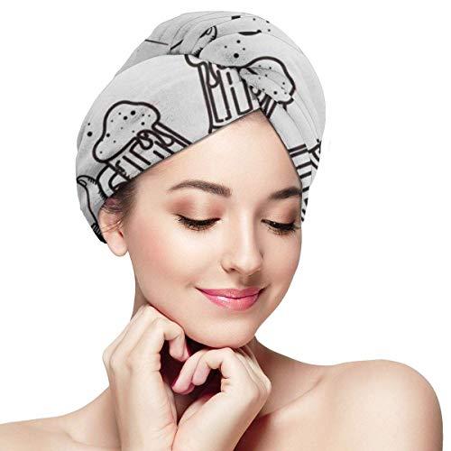 Mikrofaser-Haartuchwickel für Frauen , Schnelle trockene Haarkappe mit Knopf - Zwei Hände Daumen hoch Symbol der kalten Biergläser Retro Fashioned Friends hält Flasche Schriftzug Text