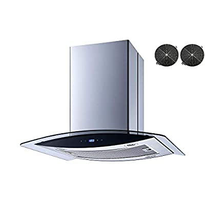 Winflo 30 In. 520 CFM Convertible Stainless Steel Glass Island Range Hood with Mesh Filter, 2 pcs Charcoal Filters and Touch Sensor Control