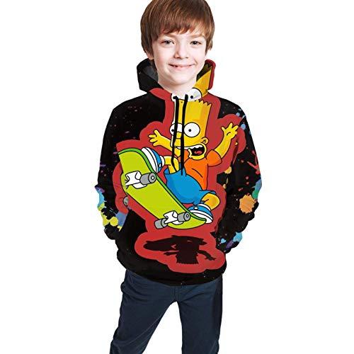 Sudaderas con Capucha de Manga Larga/Sudadera con Capucha Bart Simpson Youth 3D Print Sweater s para niños niñas 7-16 años