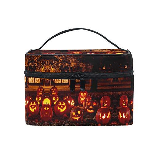 Emoya - Bolsa de Maquillaje con luz para Halloween, Calabazas, Bosque, Viajes, cosméticos, Bolsa organizadora de Maquillaje, para Hombres y Mujeres
