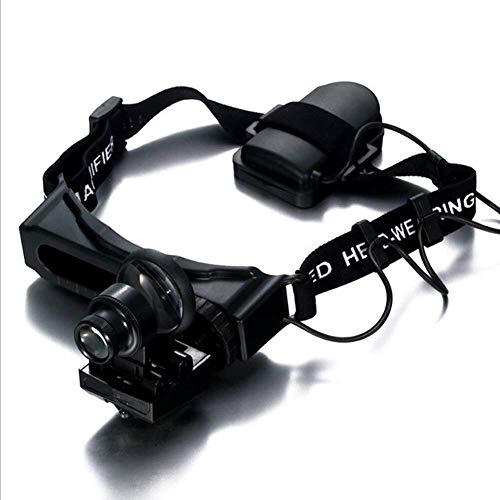 LKK-KK Manos de Cristal Libre con luz reemplazable HD Lente 1x 1,5X 2,5X 3,5X 2X 5X 20x 8X, portátil Lupa iluminada Gafas for Leer Inspección de Soldadura de la Costura de reparación Hobby Crafts