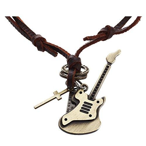 TOOGOO collar de joyeria de hombres mujeres, de guitarra cruz, tamanos ajustables colgante de aleacion con cadena de cuero, marron