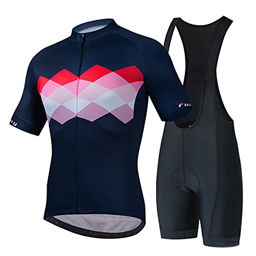 YLJXXY Mangas Cortas de Ciclismo + Cortos Culotte, Hombres Maillot Ciclismo para Deportes al Aire Libre Ciclo Bicicleta, Transpirable y de Secado Rápido