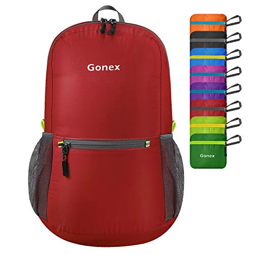 Gonex Ultra Lightweight Packable Backpack Daypack Handy Foldable Camping Outdoor Travel Cycling Backpacking(Red)