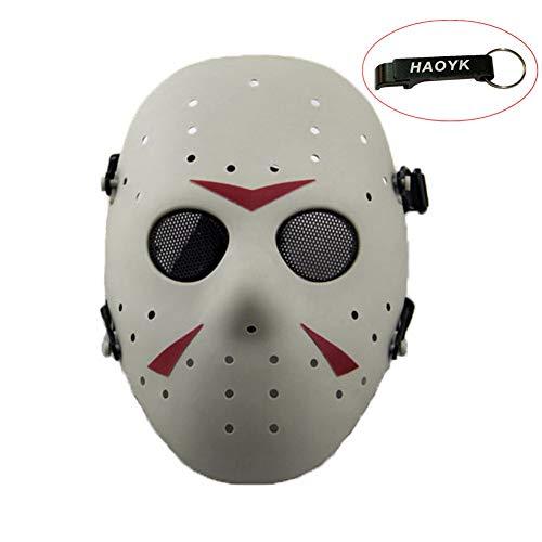 haoYK Gesichtsmaske, Hockeymaske im Stile von Jason Vorheese, Schutzmaske als Kostüm für Halloween und Partys