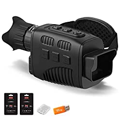 AceFox Digital Night Vision Goggle Monocular - Double 32GB TF Memory Card Infrared Digital Night Vision Monocular, Large Viewing Screen for Total Darkness, Photo and Video Storage Function