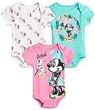 Disney Baby Girls 3 Pack Short Sleeve Bodysuits – Minnie Mouse, Ariel, Nemo, Pooh (Newborn/Infant), Size 3-6 Months, Aloha Minnie