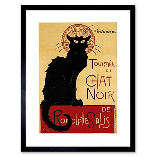 Black CAT Chat Noir Rodolphe SALIS Paris France Framed Art Print Picture F12X199