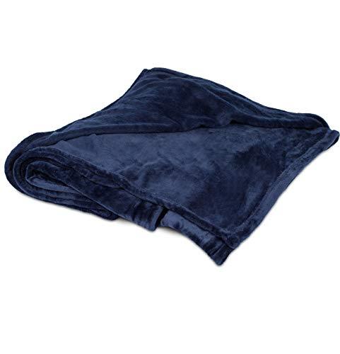 Birdrock Home peluche coperta   morbido tessuto   Facile da lavare, Microfibra Poliestere, Navy, 108 x 90'