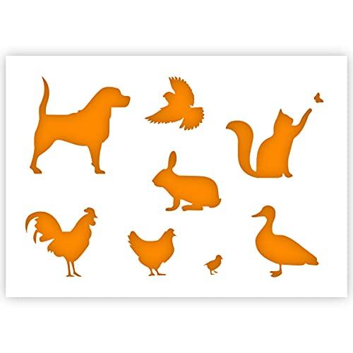 QBIX Plantilla de animales de granja – Perro, gato, pájaro, conejo, pato,...