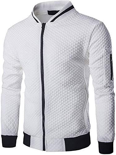 Veravant Sweat-Shirt Homme Manches Longues Pull Uni Zippé Bomber Blouson Veste Sport - Blanc - Large